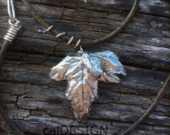 Hanging Leaves - Fine Silver on Leather Pendant