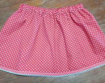 Red Polka Dot Child Skirt, Summer Skirt, Girl's Skirt, Toddler Clothing, Headband, Matching Set, Floaty, Spring, Beachwear, Holiday Wear