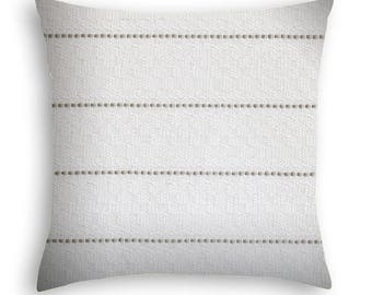 Textured cream with a classic single gray stripe woven in Pillow cover. Gray and white pillow cover.