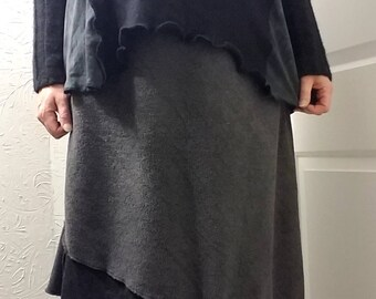 Asymmetric Color Block Sweater Fleece Skirt L/XL Large Handmade Ready to ship