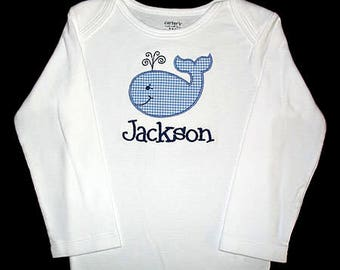 Custom Personalized Applique Gingham WHALE and NAME Bodysuit or Shirt - Lt Blue and Navy