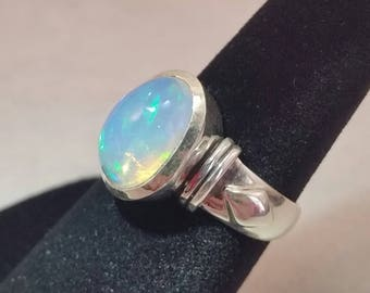ethiopain opal ring set in sterling silver - free shipping - size 6 - october birthstone - meditation jewelry - turningleafjewelryco