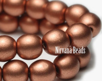Vintage Penny Matte Metallic Druk 6mm Beads