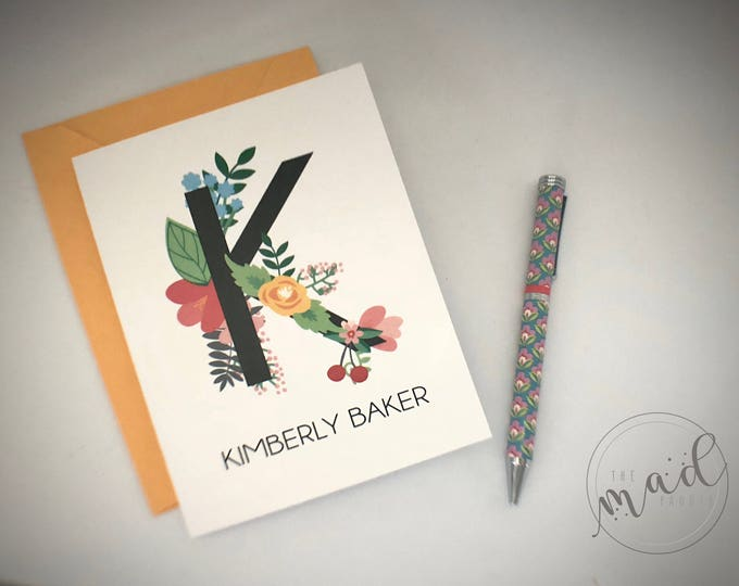 Floral Monogram Personalized Note Cards