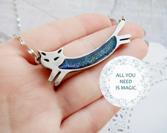 Celestial  Animal lover gift Cat Jewelry Cat Necklace inspirational Space Necklace Space jewelry Cat Pendant Cat lover gift Star jewelry