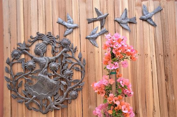 "Joy in the Garden, Haiti Metal Wall Art, Patio Yard Decor Indoor and Outdoor 23"""