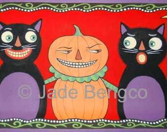 NAUGHTY PUMPKIN MAN Halloween Black Cats Fantasy Limited Edition Art Print