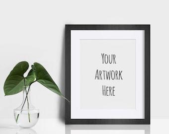 Digital frame, mockup, plant, simple, modern, poster mockup, styled stock, white, greenery, art mockup, photography mockup, 8x10, DOWNLOAD