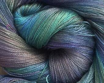 Silk Lace Weight Yarn, Hand Dyed Mulberry Silk Yarn, Spun Silk, Pure Silk Yarn, Knitting, Weaving, Crochet, Colour No.53 - Spruce