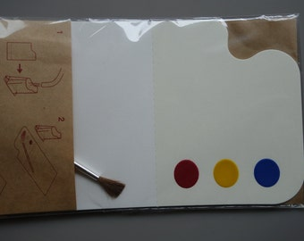 DIY Muji Kit for 3 Postcards with Brush and Palette Blue Yellow Red