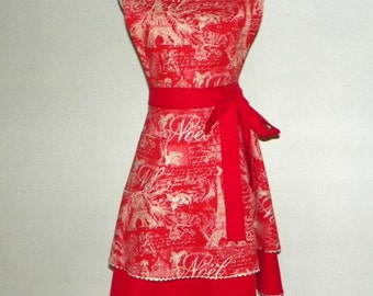 Retro Style Double Skirt Bib Apron Paris Holiday - Red