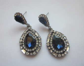 Vintage CZ rhinestone Blue Glass Earrings