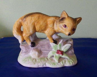 SALE Fox in the Forest  Figurine - Vintage Porcelain