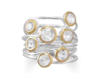 Handmade Sterling Silver Two Tone Natural Clear Quartz Stacked Ring