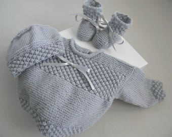 TO order: BRA 1 m, hat, gray knit slippers