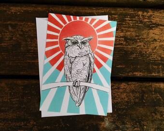 Blank Card- Crested Sun Owl