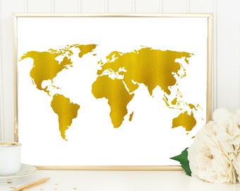 Gold World Map Art, Gold Wall Decor Gift For Traveler, World Travel Nursery, World Travel Map, Babe Cave Decor, Girl Gift Gold Office Print