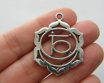 4 Chakra flower charms antique silver tone I85