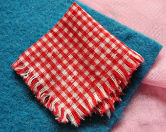 1964 Red Riding Hood *RED CHECKERED NAPKIN*  For Basket -Barbie Little Theater Costume Outfit -or for Liddle Red Riding Hiddle Kiddle Doll