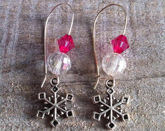 Snowflakes earrings large silvery pink fuchsia clasps