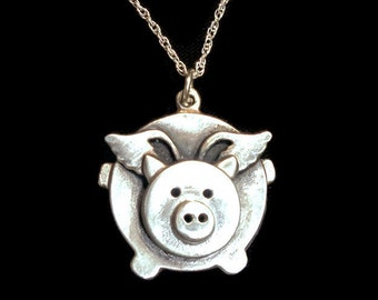 Sterling silver Flying pig necklace, cute flying pig pendant, when pigs fly, flying pig jewelry, marathon flying pig, whimsical jewelry