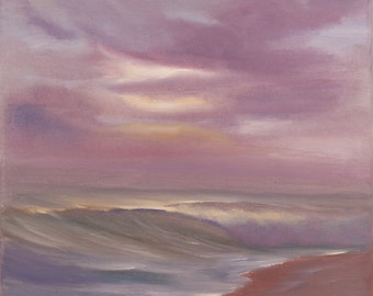 Sunset Coastal Landscape Painting, Ocean Waves, Seascape, Surf Art, Small Oil Painting, Ocean Art, Beach Painting, Original Oil on Canvas