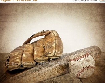 FLASH SALE til MIDNIGHT Vintage Baseball, bat and glove Photo Print ,Decorating Ideas, Wall Decor, Wall Art,  Kids Room, Nursery Ideas, Gift