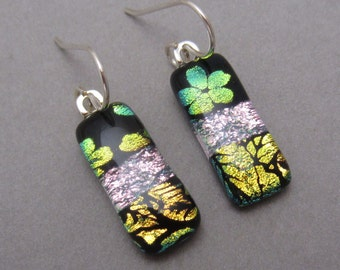Pink gold three pattern fused dichroic glass earrings, sterling silver ear wires trio fused dichroic glass jewelry Mendocino CA