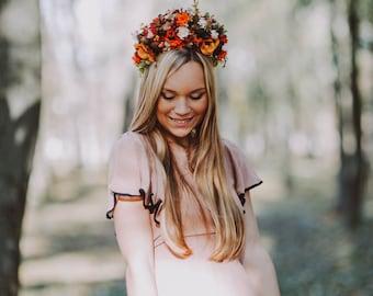 Autumn hair wreath Bridal wreath Flower hair wreath Wedding hair wreath Hair wreath in autumn colors Hair accessories Flower crown