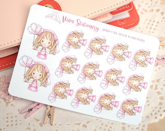 Kawaii Girl Cleaning Day Decorative Stickers ~Valerie~ For your Life Planner, Diary, Journal, Scrapbook...