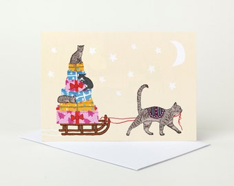Cat Delivery Christmas Card (cute cat christmas card, kittens christmas card, christmas card for daughter mum granddaughter)