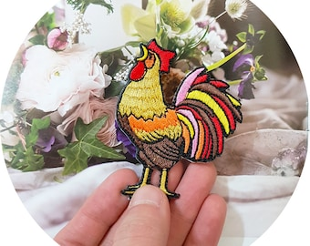 Cackling Cackle Chickens Hen with Colorful Feathers Iron On Embroidered Patch