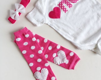 First Birthday PInk Polka Dotted Bodysuit, Heart baby leg warmers, Headband