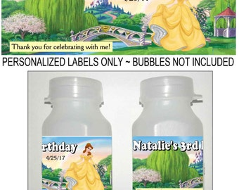 30 PRINCESS BELLE Birthday party favors bubble labels beauty and the beast