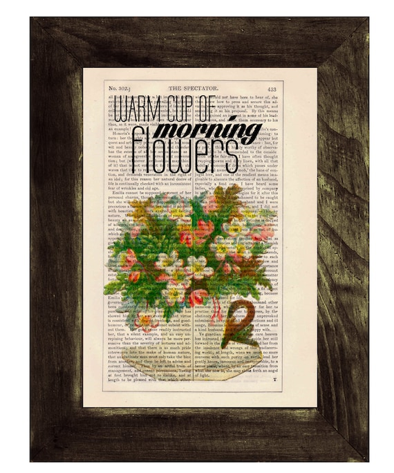 print art Tea cup full of flowers Wall art collage-  Upcycled book page Art Dictionary  print- Home decoration TYQ045