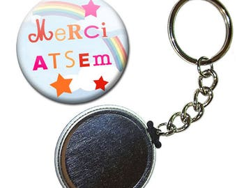 Keyring Badge 38 mm - thank you for pre-school kindergarten rainbow child gift