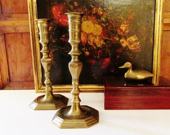 Vintage Brass Candlesticks, Hollywood Regency, Pair of Candleholders, Octagonal Base, Mantel Decor, Mantel Decor