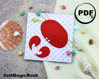 CRAB |  FOR CHILDREN | Busy Book | Quiet Book | Felt Busy Book | Toddler book | Activity Book | Fabric quiet book |  for Kids