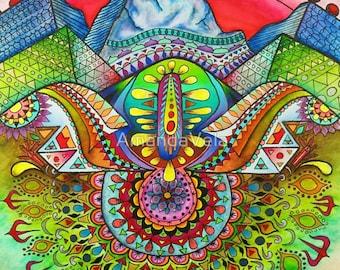 Landscape Art, Mountain Art, Bohemian Style, Boho, Psychedelic Mountain Art, Spiritual Art, Visionary Art, Mandala, Zentangle Watercolor