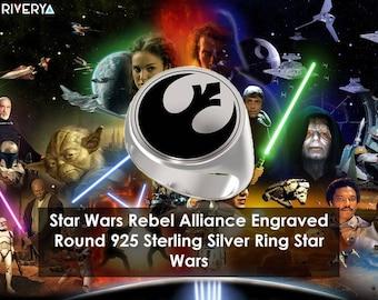 Rebel Alliance, Star Wars, Rebel Alliance, Rebellion, Star Wars, Signet Ring, Engraved Round Ring, 925 Sterling Silver Ring, Handmade Ring