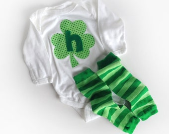 Letter N Ready to Ship St. Patrick's Day Shamrock Initial One Piece and Leg Warmers