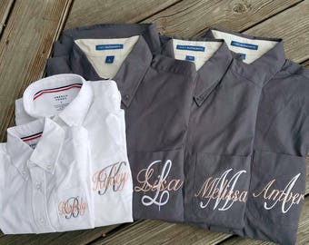 Buy 5 or more, get one FREE , Button Down Bridesmaids shirts, monogrammed oxford shirts, getting ready shirts, bridesmaid shirts - BM01