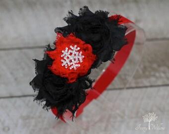 Snowflake Headband - Red and Black Christmas Headband - Christmas Headband - Snowflake Bow - Infant - Newborn - Girl - Adult