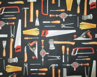 Tools Handy Man Saws Gloves Hatchet More Black Cotton Fabric Fat Quarter Or Custom Listing
