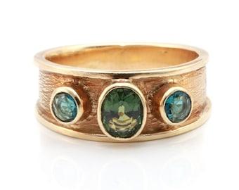 Green tourmaline ring, tourmaline gold ring, blue topaz gold ring, vintage gemstone ring, gemstone gold ring, vintage tourmaline ring