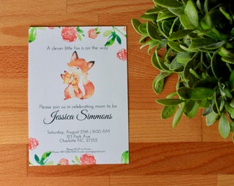 Fox Baby Shower Invitation, Fox Baby Shower Invitation, Woodland Baby Shower, Cute, Digital or Printed Invitation, 5 X 7