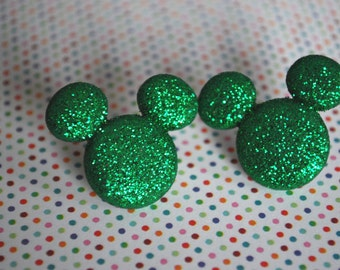 Mickey Mouse Earrings -- Mickey Mouse, Minnie Mouse, Green Mouse Ears
