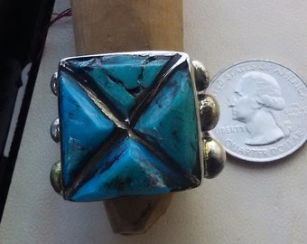 Vintage  Native American Turquoise Ring  Sterling Silver