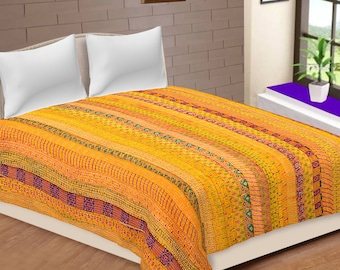 Indian Patola Silk Kantha Quilt Bohemian Bedding Bedspread Queen Size Blanket Patchwork Kantha Bedsheet bedcover Quilts Gudri Throw New