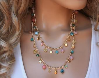 Colorful Charm Gold Necklace,  Semi Precious Stone Boho Summer Jewelry
